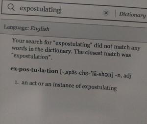 Dictionary definition of expostulating
