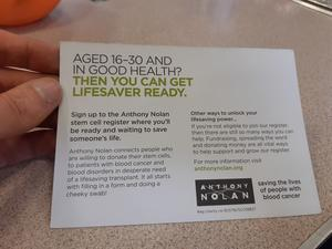 Flier that reads 'Aged 16 to 30 and in good health?  Then you can get lifesaver ready.'